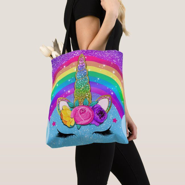 Rainbow Sparkle Glittery Unicorn Horn Face Girls Tote Bag   Zazzle.com