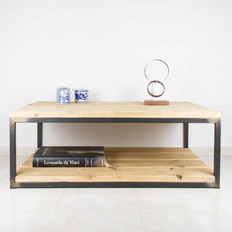 Mesa de centro de hierro y madera de pino recuperada - Mesa de hierro ...