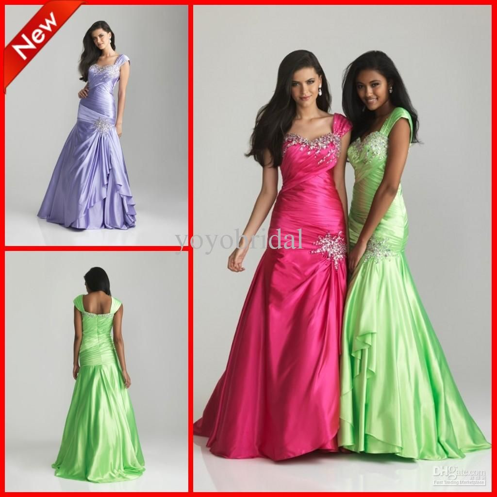 Wholesale 2013 new lime green hot pink satin mermaid crystals bead wholesale 2013 new lime green hot pink satin mermaid crystals bead evening prom dresses bridesmaid gowns ombrellifo Choice Image