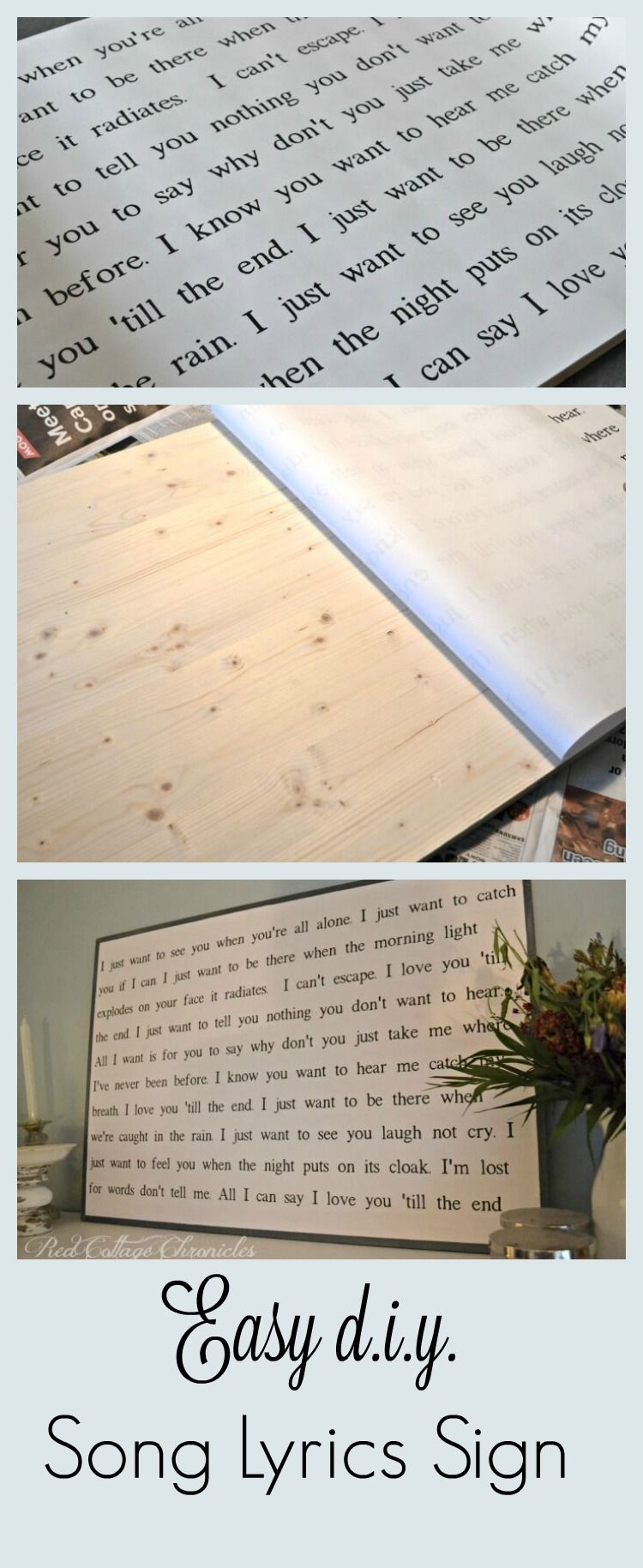 Wedding decorations quotes  Make this diy song lyrics sign no sign painting skills required