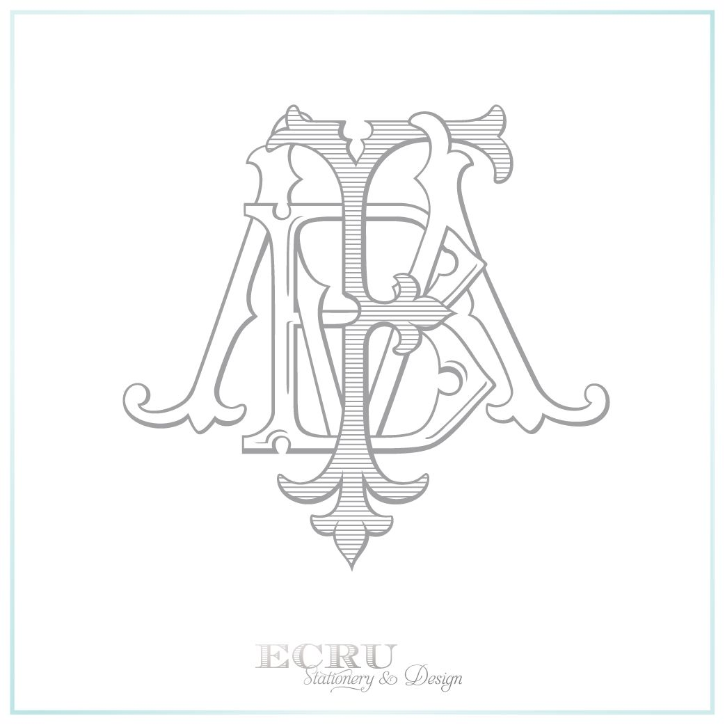 from hand drawn sketches to a beautiful custom monogram designed for print embroidery and etching 3 letter