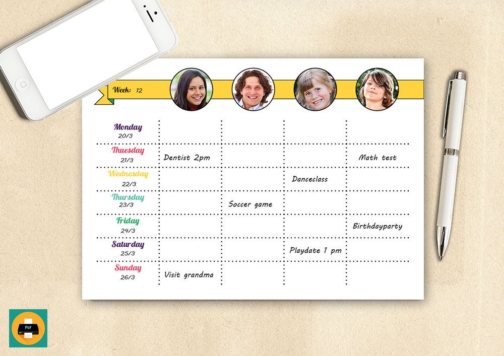 Custom Weekly Family Planner Week Organizer Schedule Printable