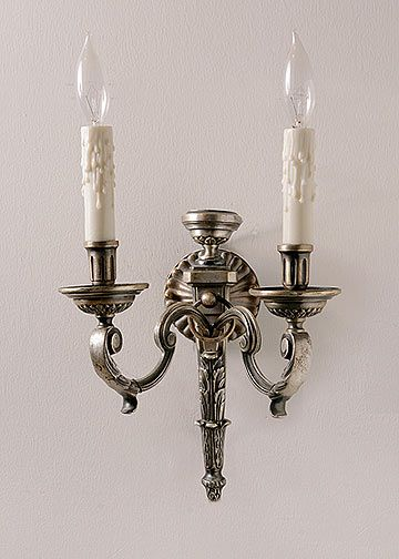 Set of  Three French Antique White Bronze Sconces