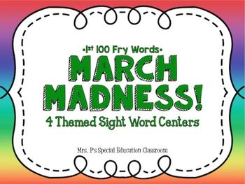 4 Themed Sight Word Centers:-Sight Words Graphing!Objective: Students will be able to orally read 1st level sight words and count the number of times they have read each word by graphing them in a bar graph.-Sight Word Task Card MatchObjective: Students will be able to read and match 1st level sight words. -Sight Word CoordinatesObjective: Students will be able coordinate points on a plane and orally read 1st level sight words.-Rainbow Sight WordsObjective: Students will be able to orally…