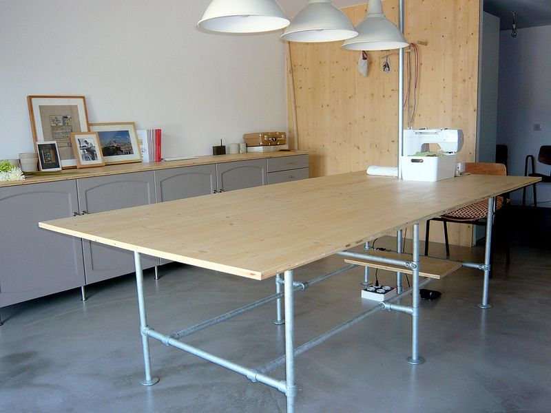 Modern Furniture Workshop seamstress studio workshop features industrial furniture | pipe