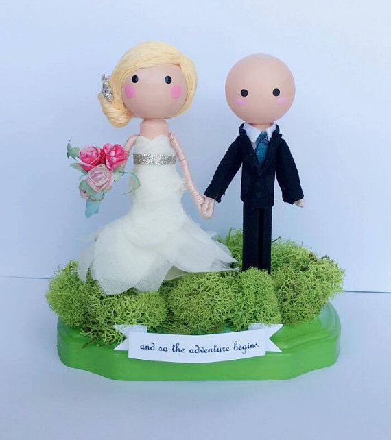 custom wedding cake topper wooden clothespin by thepeddlersbazaar