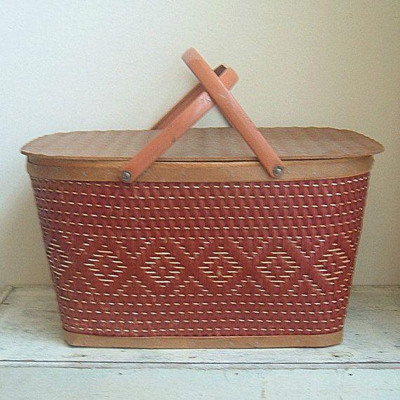 Red Plastic Picnic Basket : Vintage red man picnic basket baskets