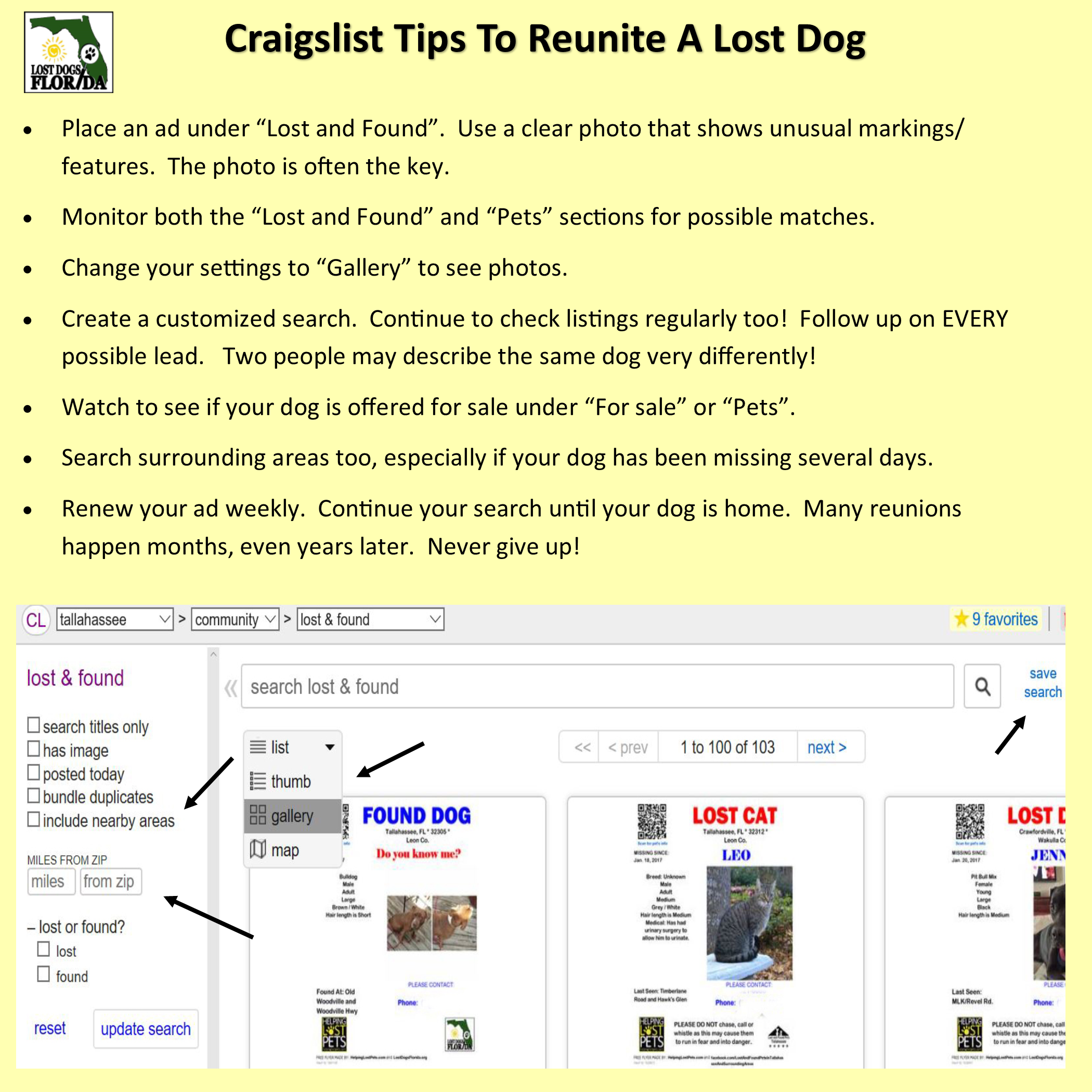 Craigslist tips to reunite a lost dog Losing a dog