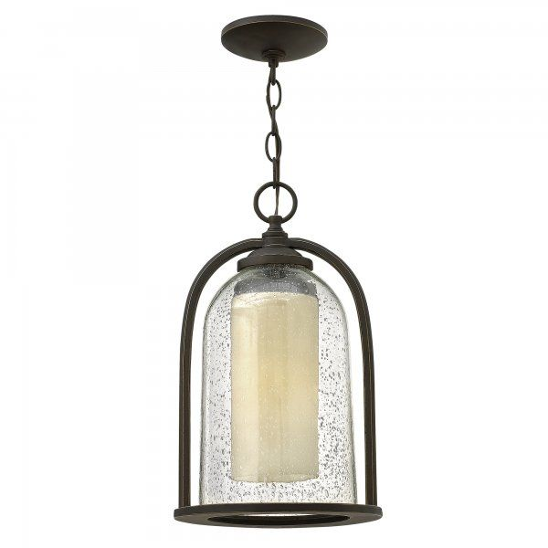 Traditional Outdoor Glass Bell Shaped Hanging Lantern With Inner Candle  Glass Shade