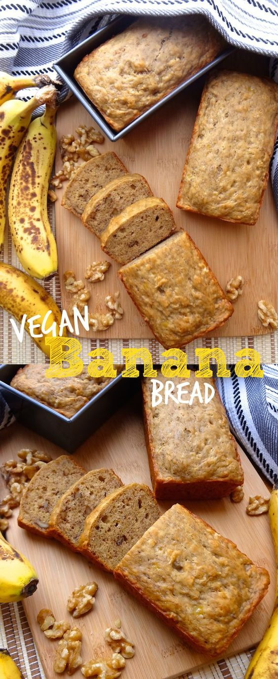 Super moist Vegan Banana Bread recipe - egg and dairy free. A few simple ingredients bring this recipe together. Don't let those ripe bananas go to waste!: