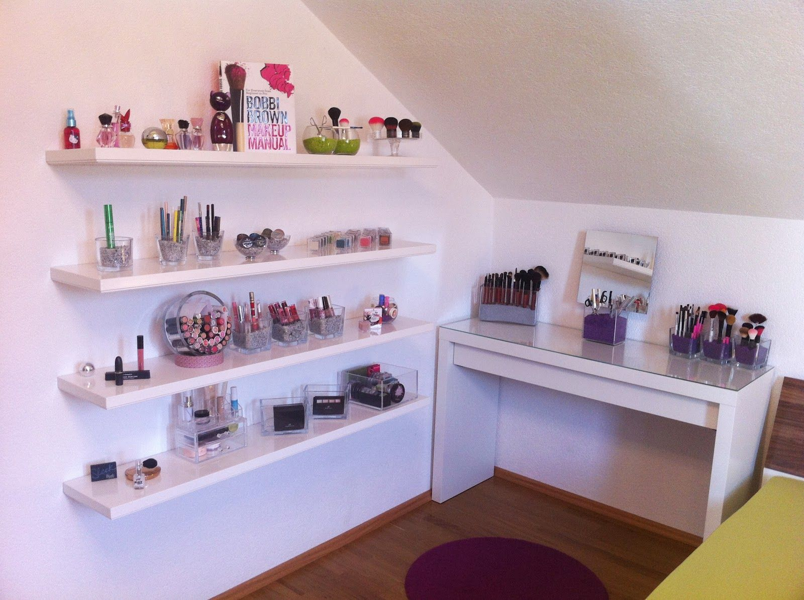 make up vanity that attaches to wall like a shelf