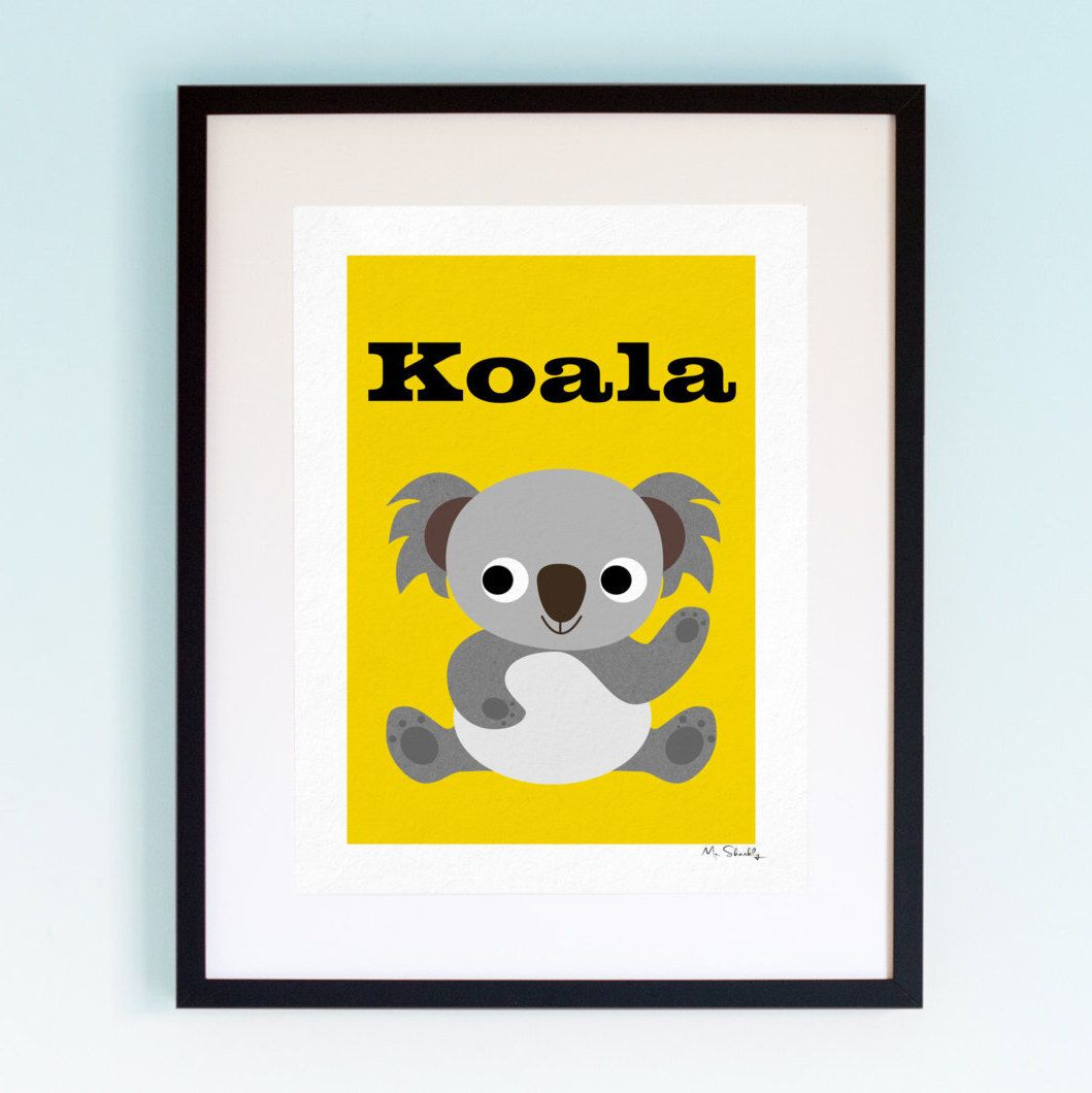 Koala, Wildlife, Poster, Wall Art, Childrens, Nursery Print, Boys ...