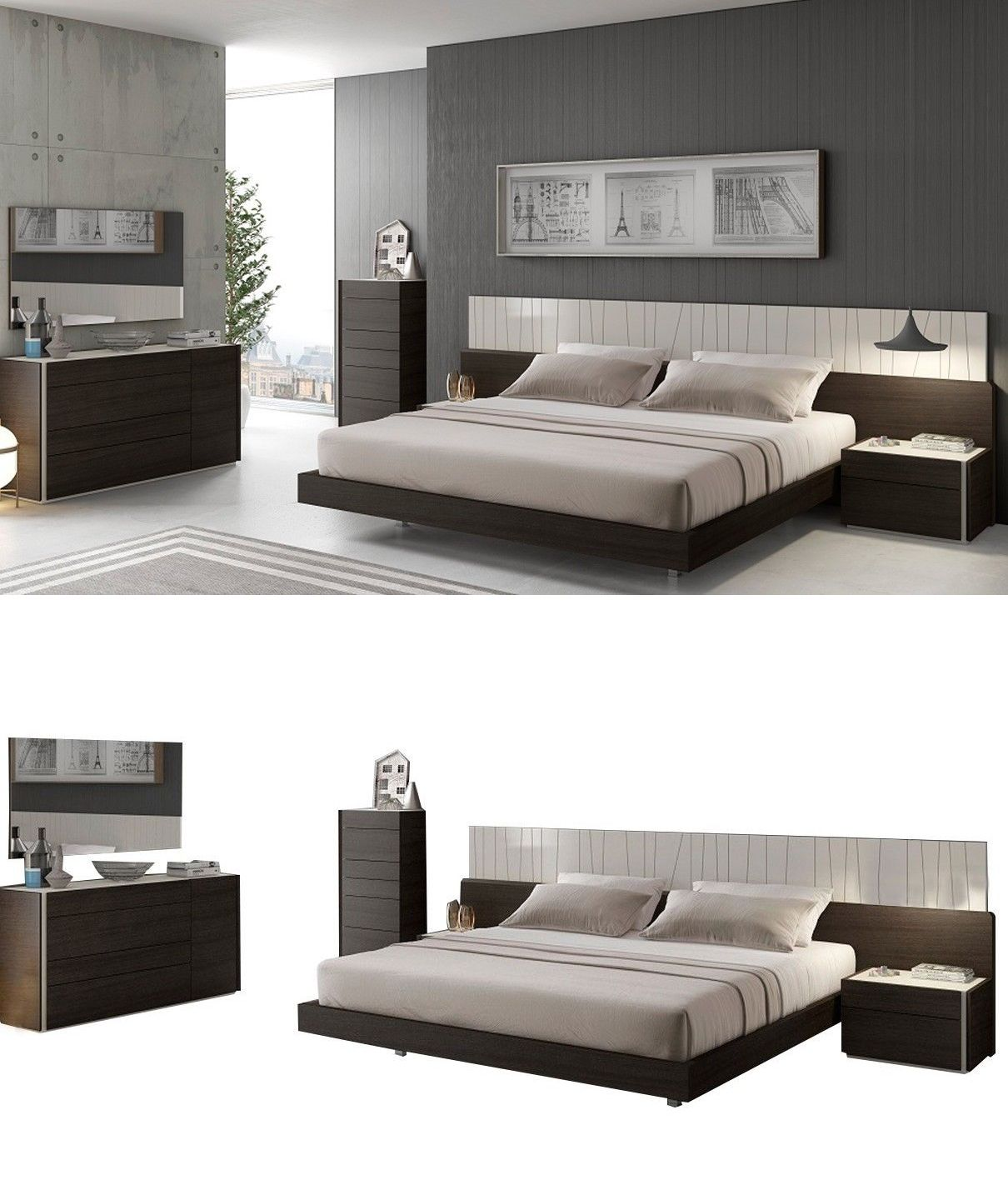 Bedroom Sets 20480 Jandm Porto Contemporary King Bedroom Set In Light Grey And Wenge 5 Piece Buy I King Bedroom Sets Modern King Bedroom Sets Bedroom Sets