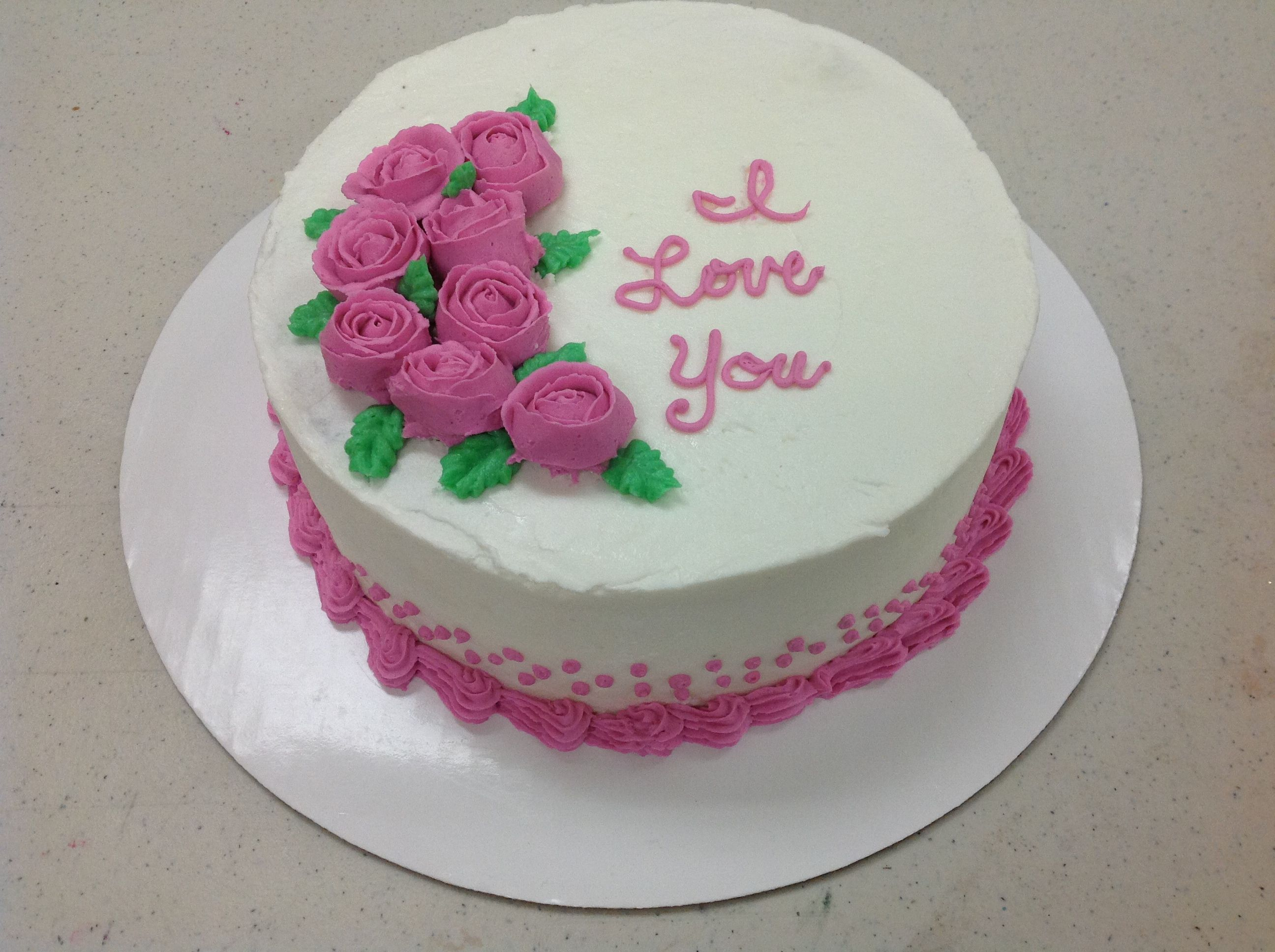 Gretchen Heiar Made A Beautiful Rose Cake In Course 1 Decorating
