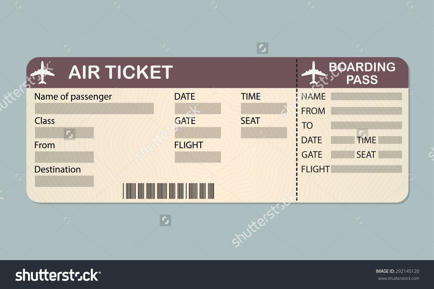 Airline Boarding Pass Template Sample Customer Service With Regard To Plane Ticket Template Word Boarding Pass Template Plane Tickets Ticket Design Template