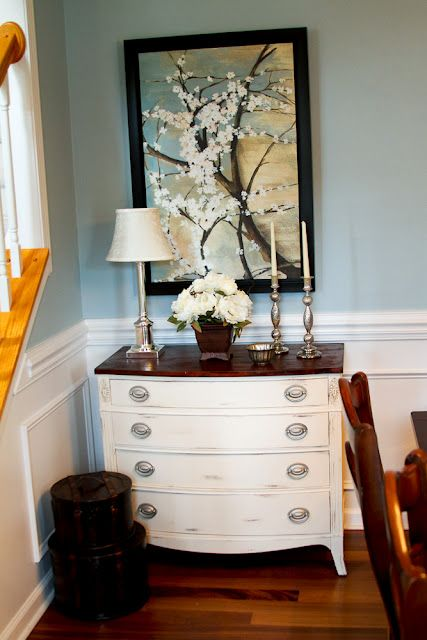 white dresser, stained top Furniture, Home, Interior