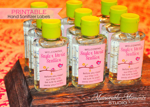 Baby Girl Hand Sanitizer Labels Baby Shower Birthday Party Favors