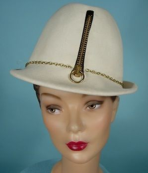 C 1960 S Yves Saint Laurent Paris New York Mod Off White Gold Zipper Front Hat This Looks Like Hats I Have Seen At Antique Dress Hats Vintage Couture Hats