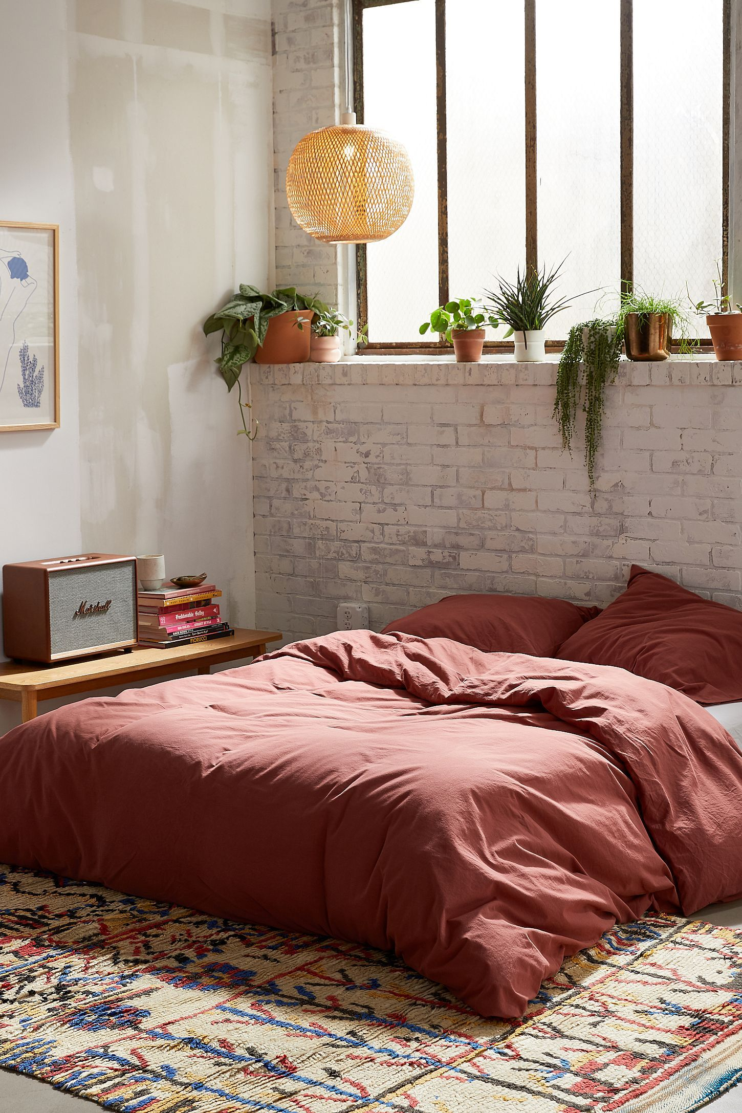 Urban Outfitters Washed Cotton Duvet Cover Mattress on