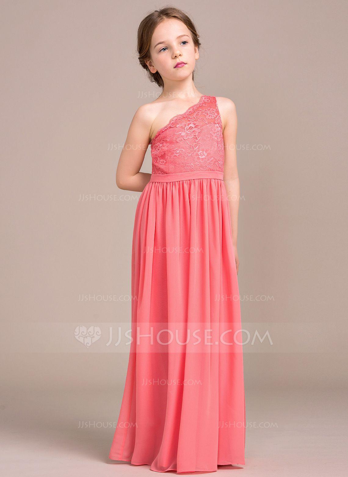 d5d460685cc A-Line/Princess One-Shoulder Floor-Length Zipper Up Regular Straps  Sleeveless No Watermelon General Chiffon Lace Junior Bridesmaid Dress
