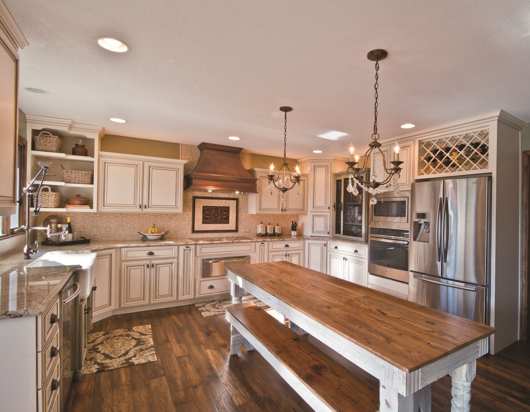 FABULOUS!! Painted Bisque Maple Cabinets With Glaze. Wine Rack, Open Shelving In Upper Cabinets