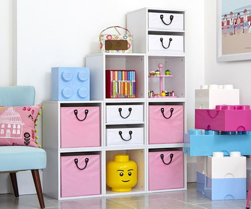 Children S Bedroom White Modular Storage Cube Set With Small And Large Pink Baskets