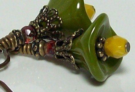 Olives and Mustard Flower Earrings. Czech by VickieJoesJewels, $8.50