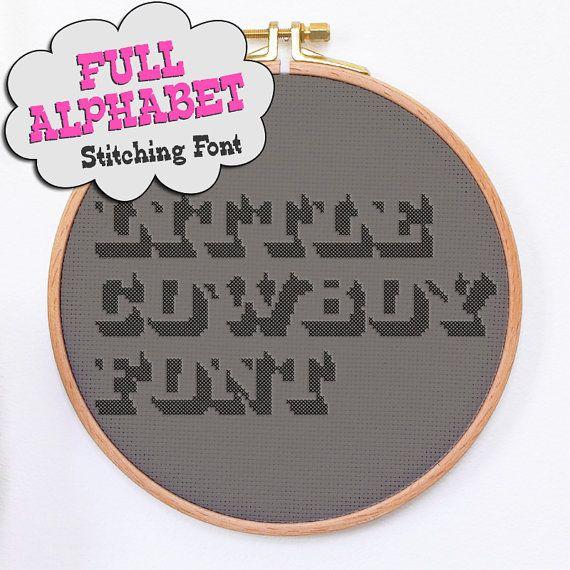 Hand Embroidery Alphabet Font Little Cowboy Cross Stitch Font