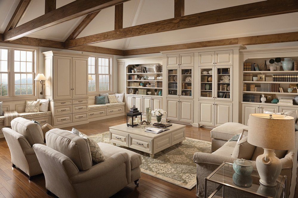 Love lots of kraftmaid built ins including 2 window for Family room built in ideas