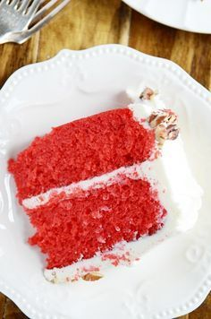 Supremely moist and delicious Red Velvet Cake with cream cheese frosting. #redvelvetcake