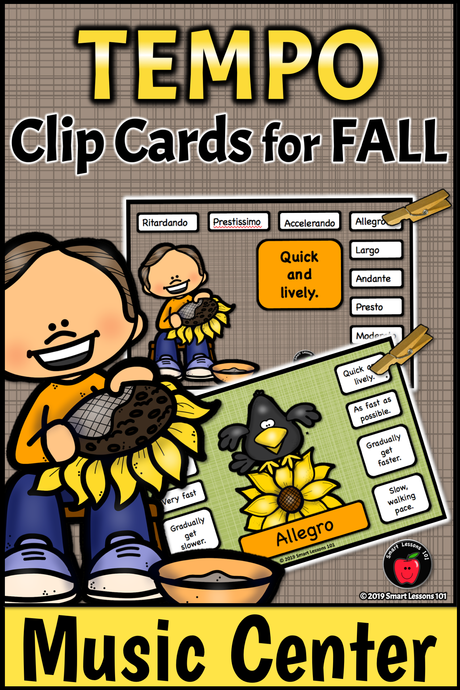 Fall Music Activity Clip Card Tempo Activities Tempo