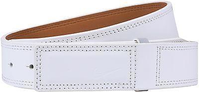New Nike Golf- Sleek Modern Covered Plaque Leather Belt 11246 38 White