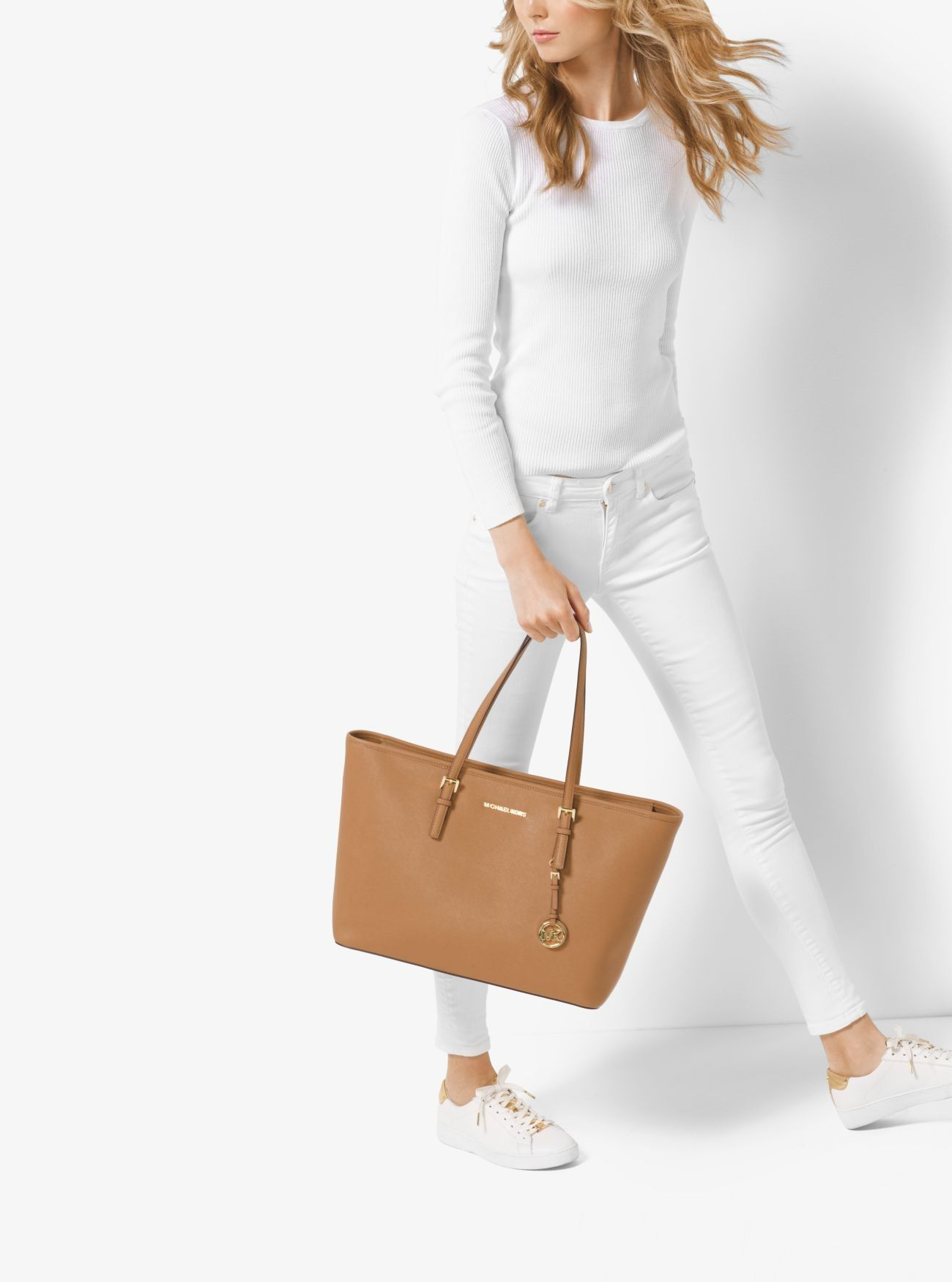 a99350c3eef7 Buy Michael Kors Acorn1 Jet Set Travel Medium Saffiano Leather Top-Zip Tote  Price