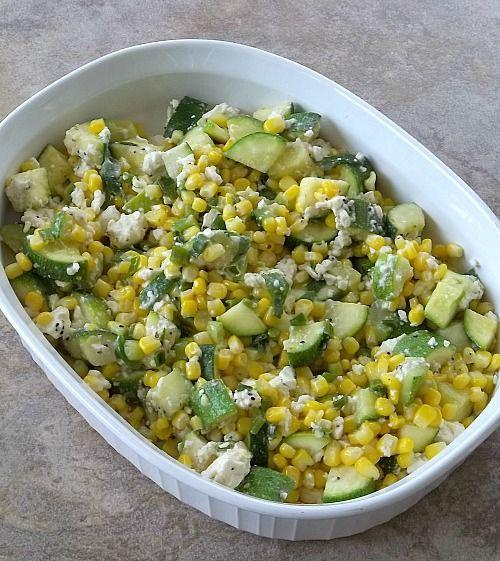 Corn, Zucchini and Feta Bake