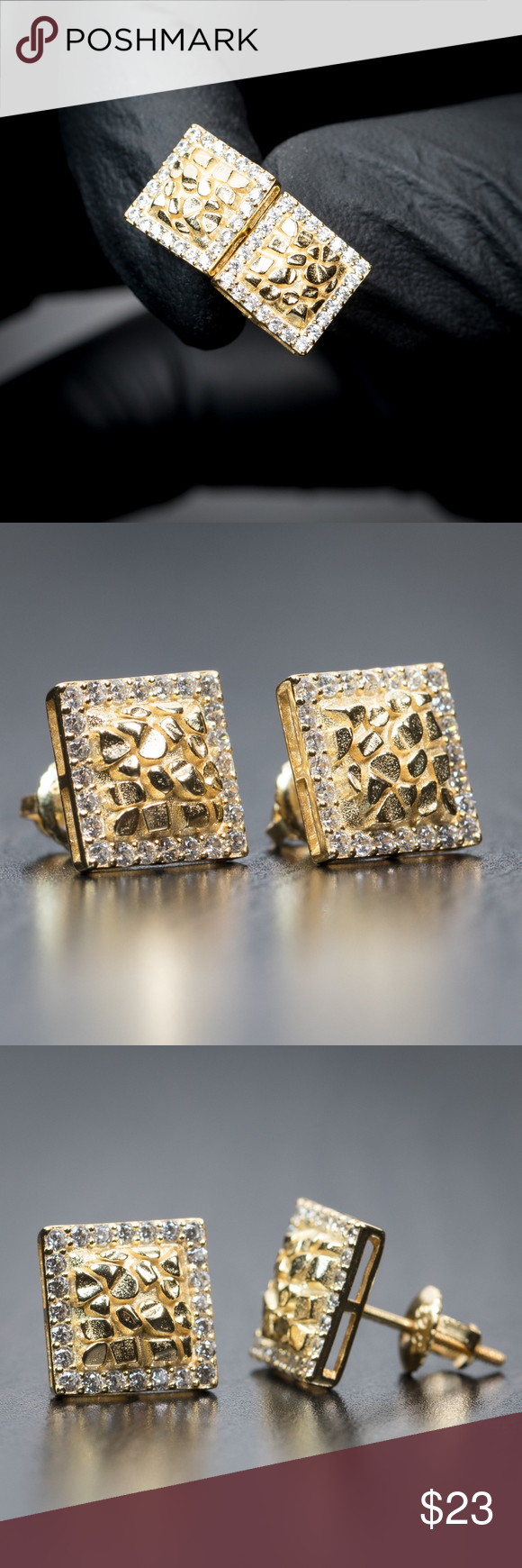 Number 23 Studs 14k Gold Plated Cz Hip Hop Screw Back Earrings