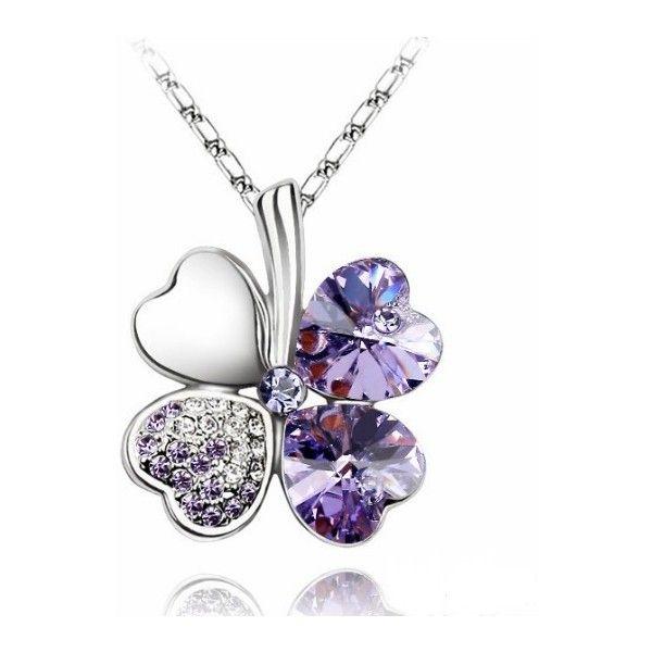 Purple Heart Austria Crystal Clover Pendant Liked On
