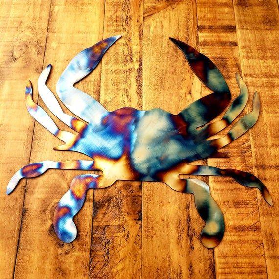 Blue Crab metal wall art plasma cut decor nautical bay gift idea