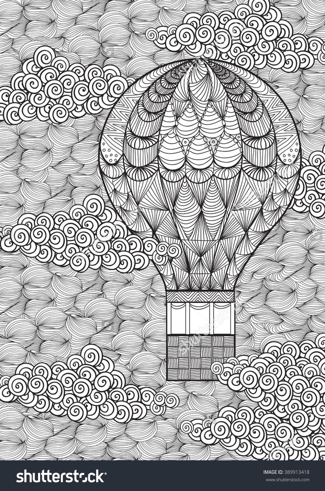 Hand Drawn Adult Coloring Page Air Balloon In Clouds In Doodle ...