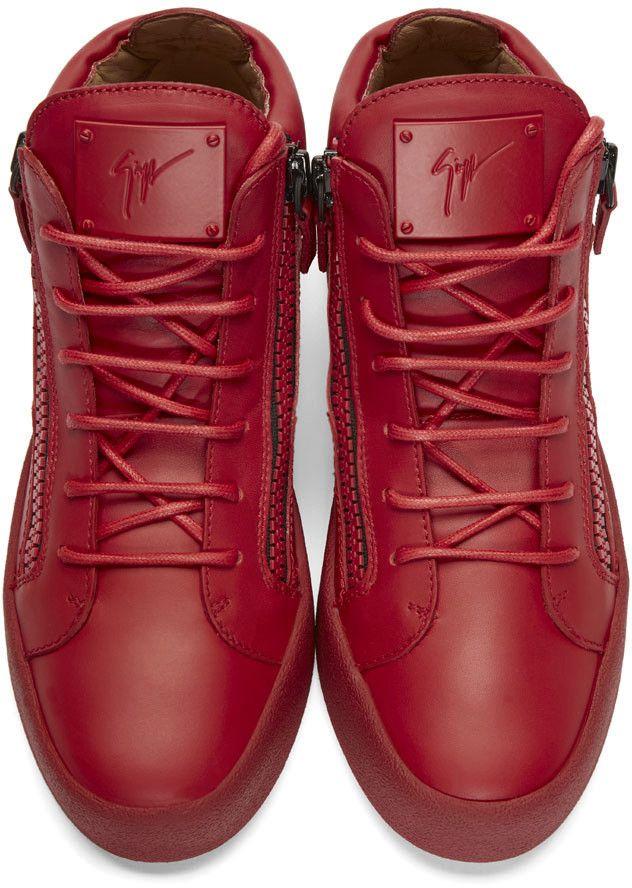 d3e2862ce5240 Giuseppe Zanotti Red Leather Mid-Top London Sneakers   MEN'S ...