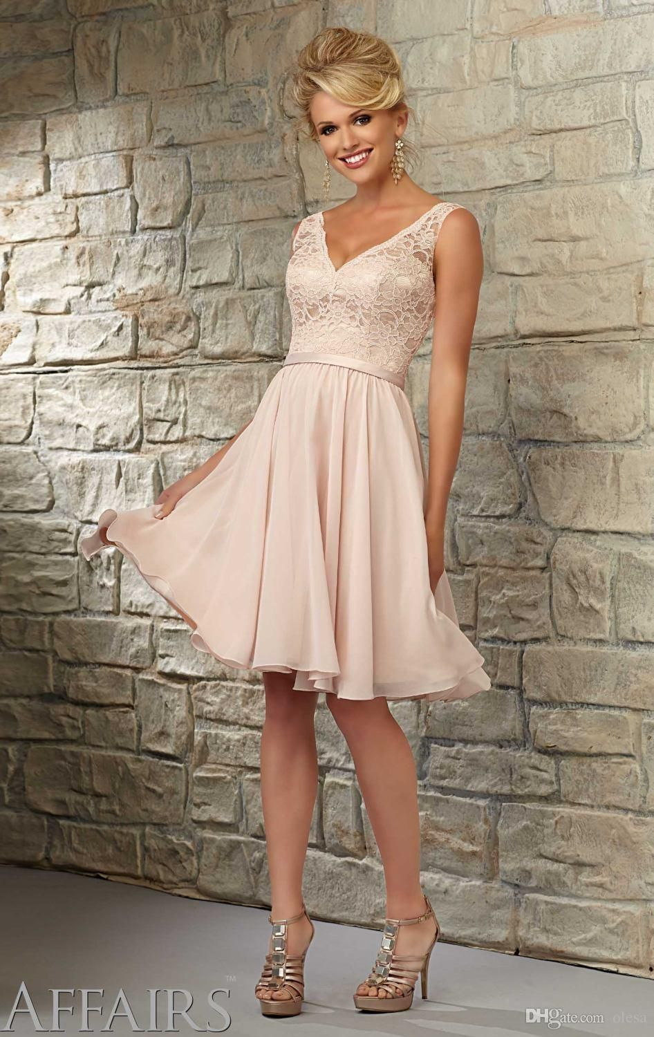 champagne lace bridesmaid dress sexy v neck sleeveless cheap