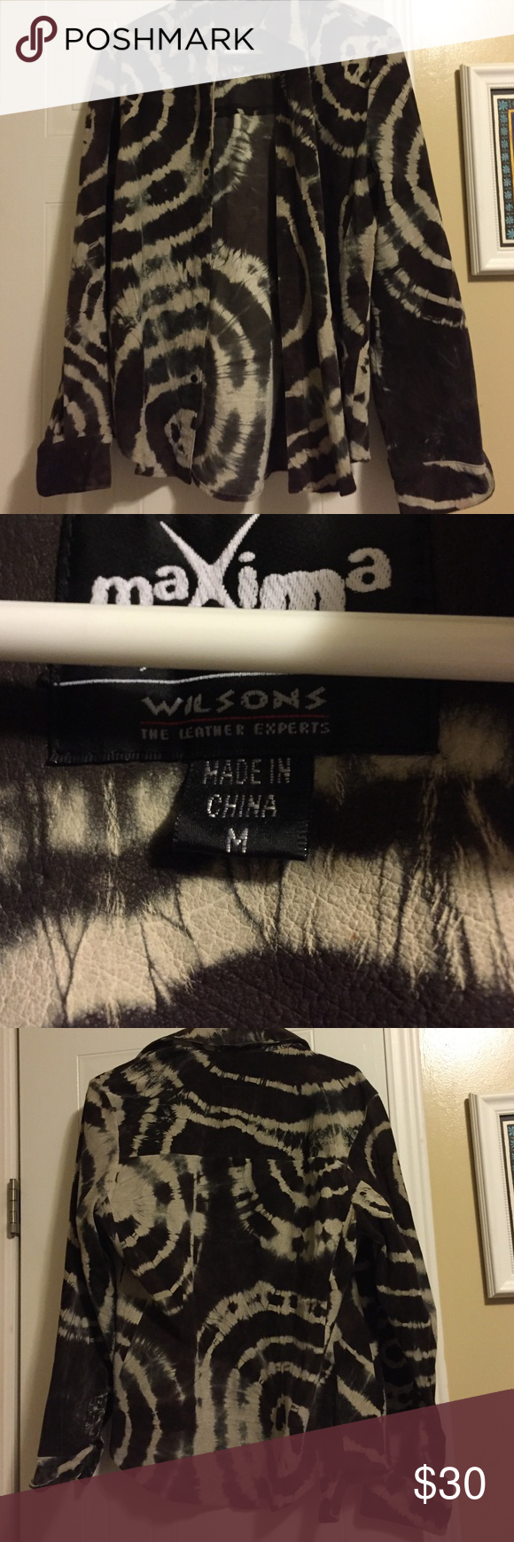 Wilsons suede tie dye shirt medium Cue tan and brown tie dye suede shirt from wilsons leather size medium! Snap buttons very cute on. Any questions just ask! I am listing more items today as I am closet cleaning from stored items! Check back for more stuff Wilsons Leather Tops Button Down Shirts