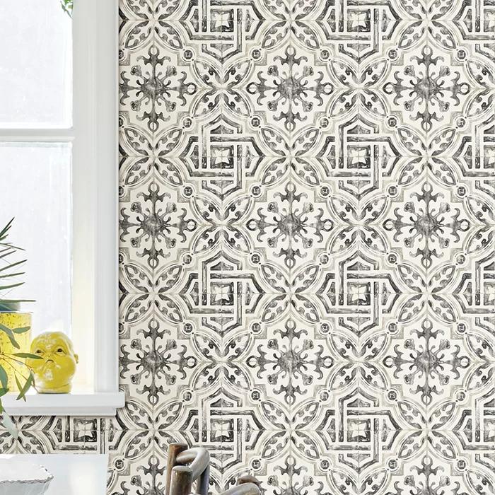 Alexis Spanish Tile 33 L X 20 5 W Geometric Wallpaper Roll Geometric Wallpaper Wallpaper Roll Tile Wallpaper