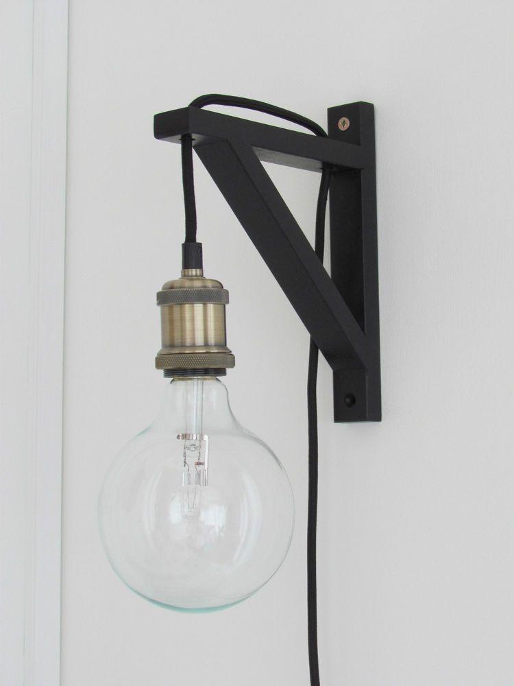 plug in industrial lighting. Vintage Industrial Wall Lamp Light - 3m Antique Brass UK Plug In Home, Furniture Lighting I