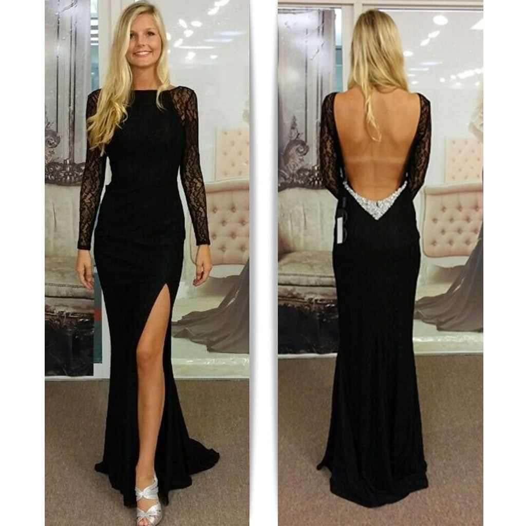 Sexy black long sleeve open back mermaid side split long evening
