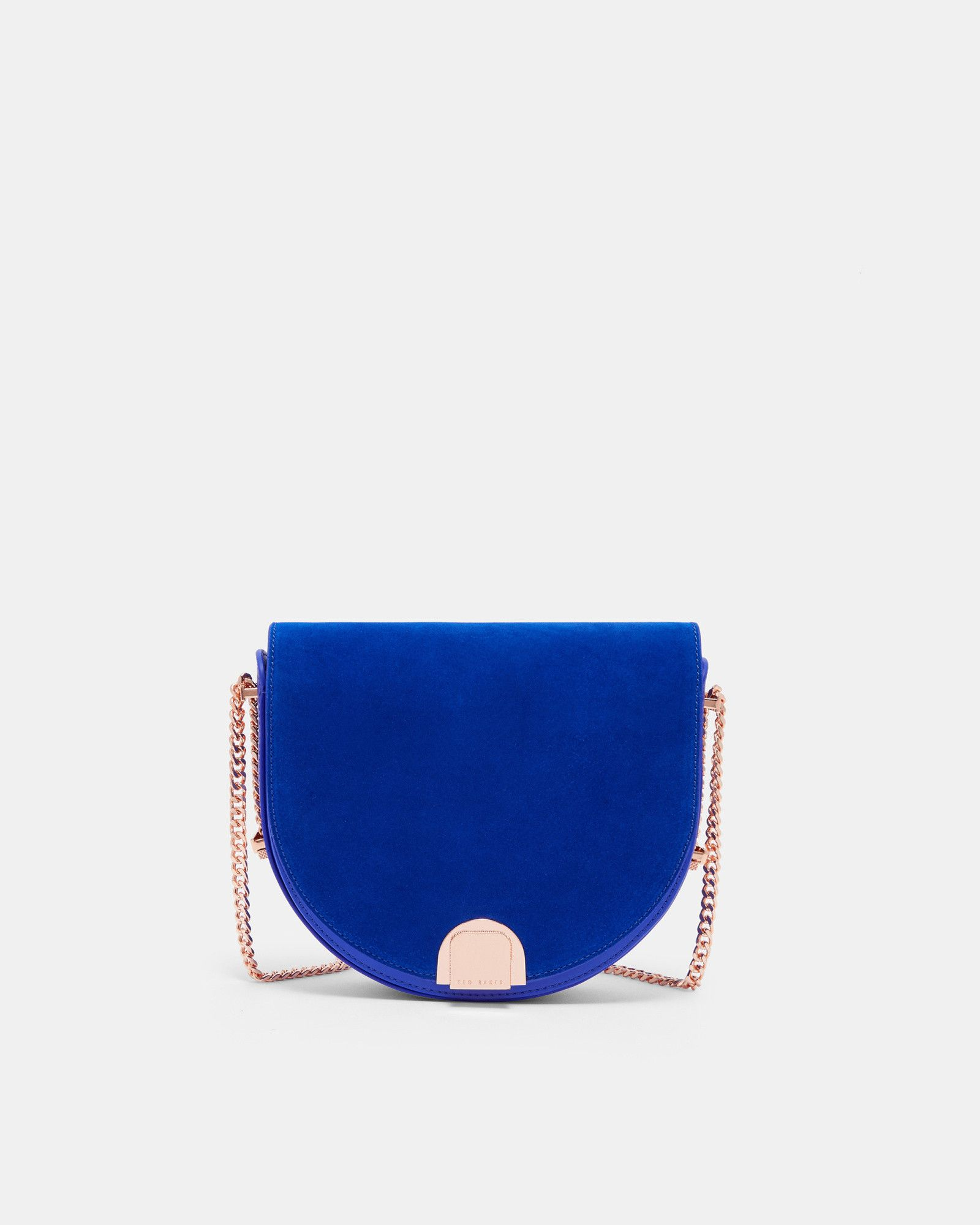 cdf10a246 Ted Baker Mini suede moon shaped bag Bright Blue | wants...needs ...