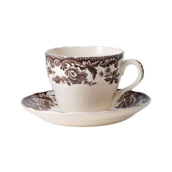 Spode Delamere Teacup and Saucer, Set of 4 ($92) ❤ liked on Polyvore featuring home, kitchen & dining, drinkware, spode tea cups and spode