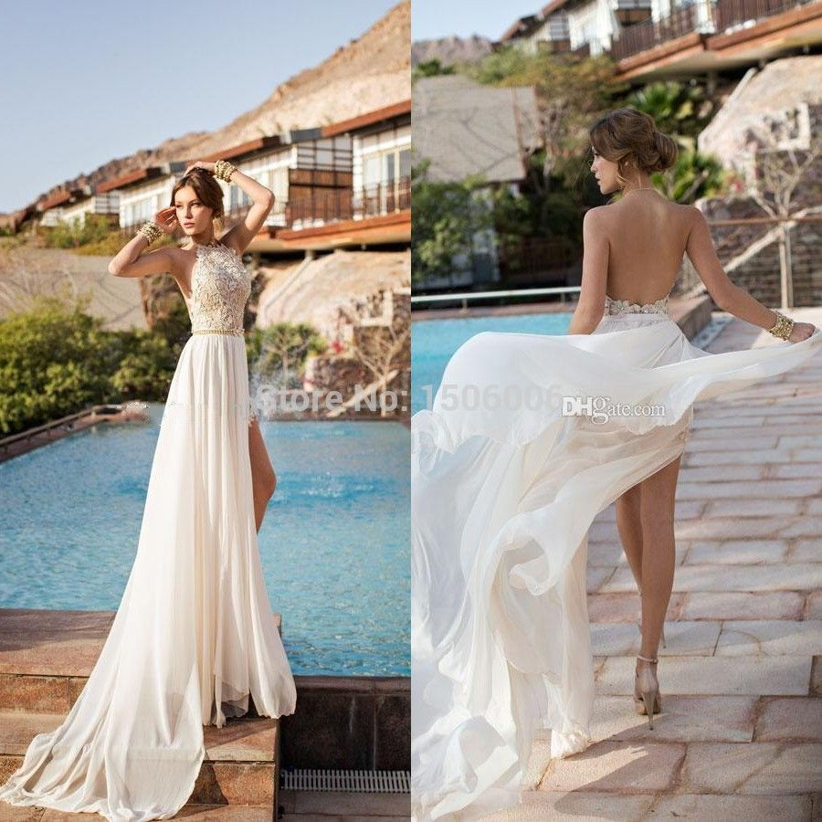 Barato marfim halter lace chiffon fabuloso sexy alta fenda vestidos