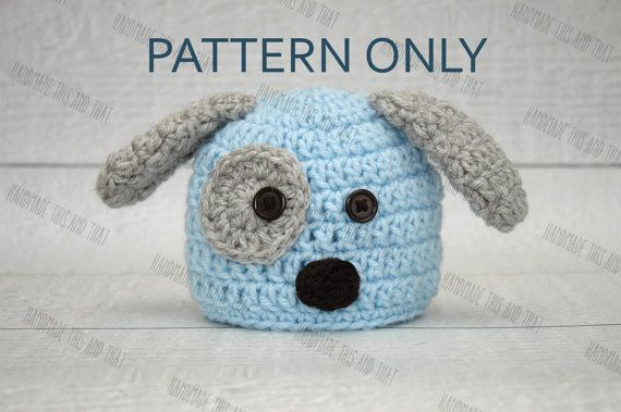 CROCHET PATTERN - Newborn Puppy hat and diaper cover and bone set ...