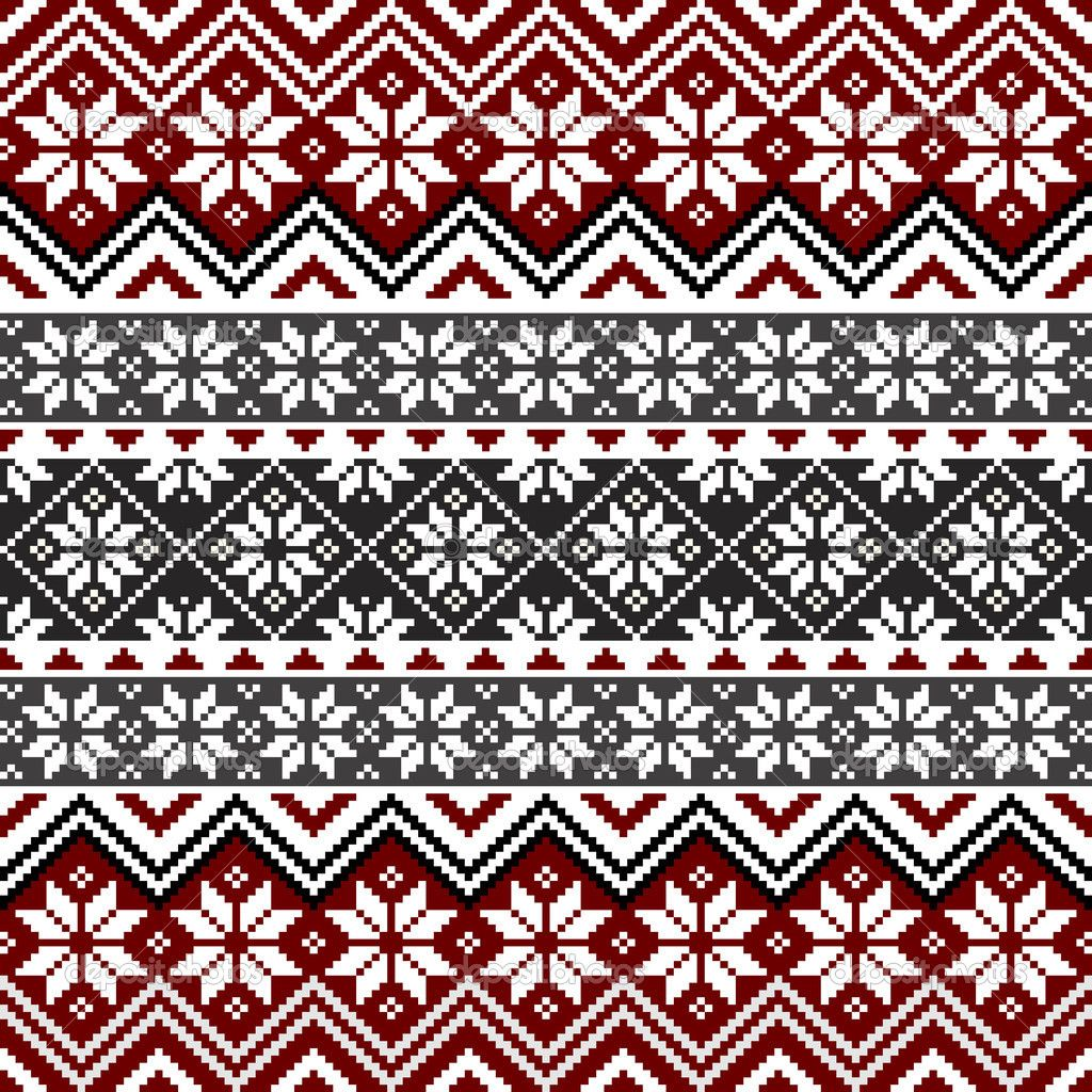 Scandinavian Knitting Patterns : Free Norwegian Cross Stitch Patterns Nordic traditional pattern with snowfl...