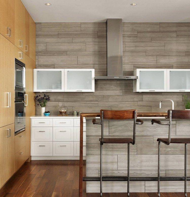 Piastrelle per parete con cucina a isola | Spazio cucina | Pinterest
